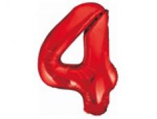 Folijas balons 86cm XL - cipars 4, sarkans