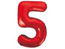 Folijas balons 86cm XL - cipars 5, sarkans