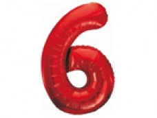 Folijas balons 86cm XL - cipars 6, sarkans