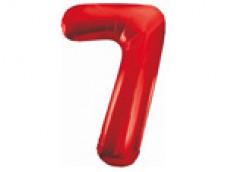 Folijas balons 86cm XL - cipars 7, sarkans