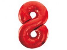 Folijas balons 86cm XL - cipars 8, sarkans