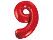 Folijas balons 86cm XL - cipars 9, sarkans