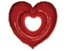 Folijas balons sirds, sarkana, atvērta, 60cm, Flexmetal